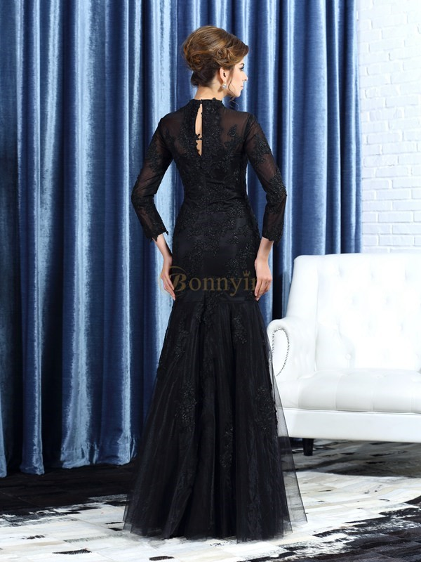 Black Tulle High Neck Trumpet/Mermaid Floor-Length Mother of the Bride Dresses