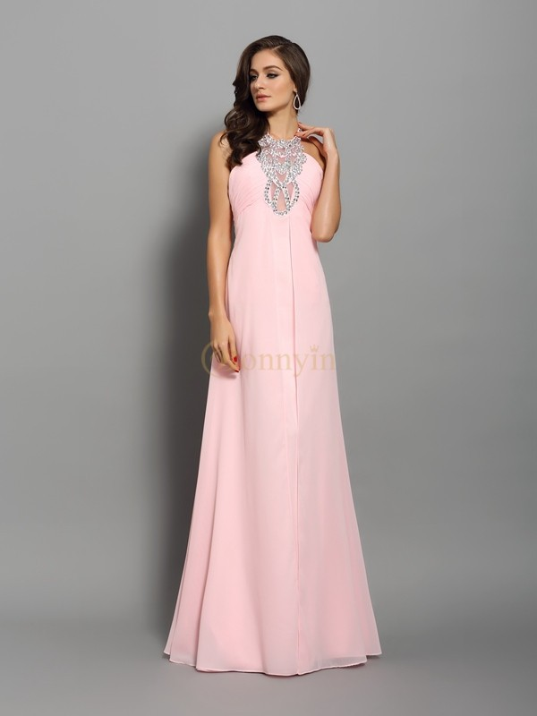 Pink Chiffon High Neck Sheath/Column Floor-Length Dresses