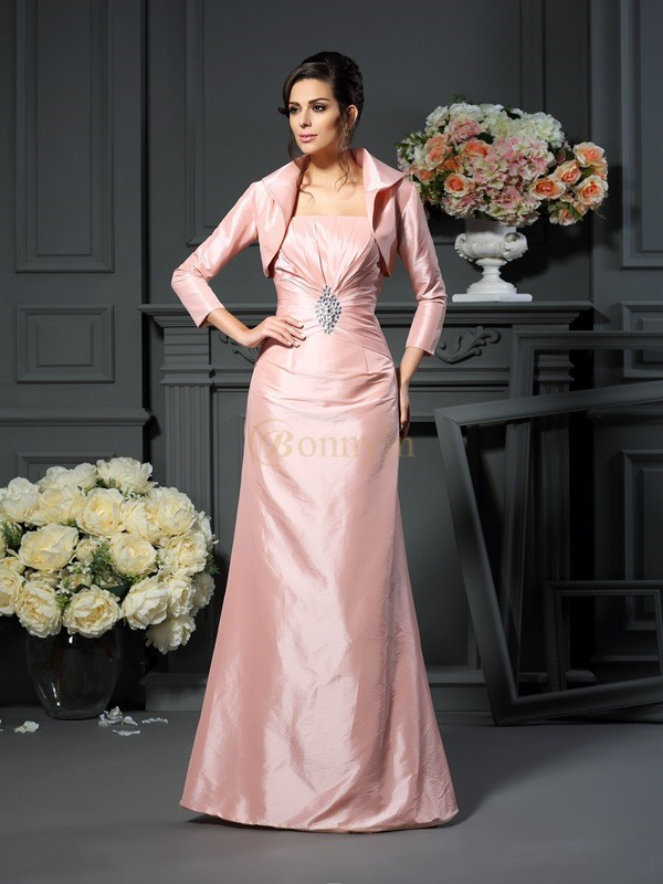 Pearl Pink Taffeta Strapless A-Line/Princess Floor-Length Mother of the Bride Dresses