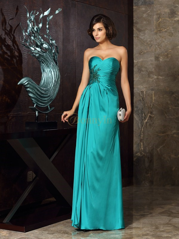 Dark Green Chiffon Sweetheart Sheath/Column Floor-Length Mother of the Bride Dresses