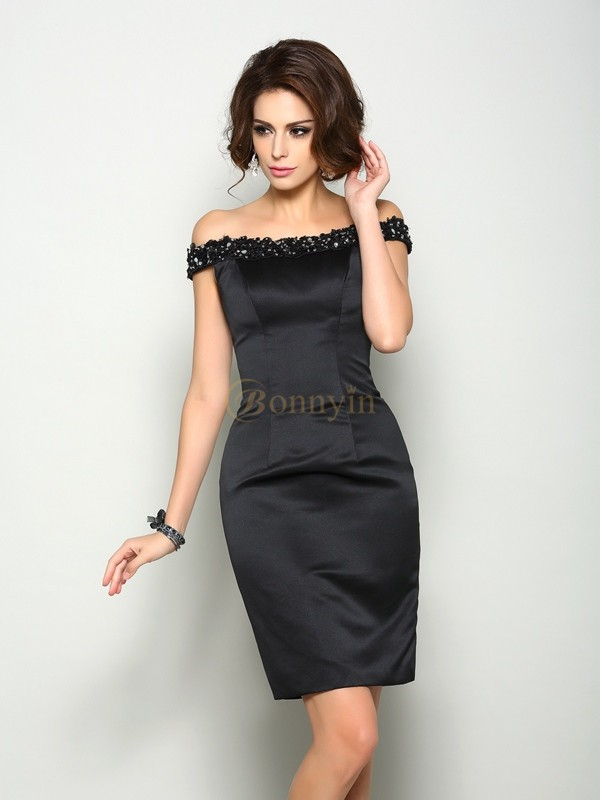 Black Satin Off-the-Shoulder Sheath/Column Knee-Length Mother of the Bride Dresses