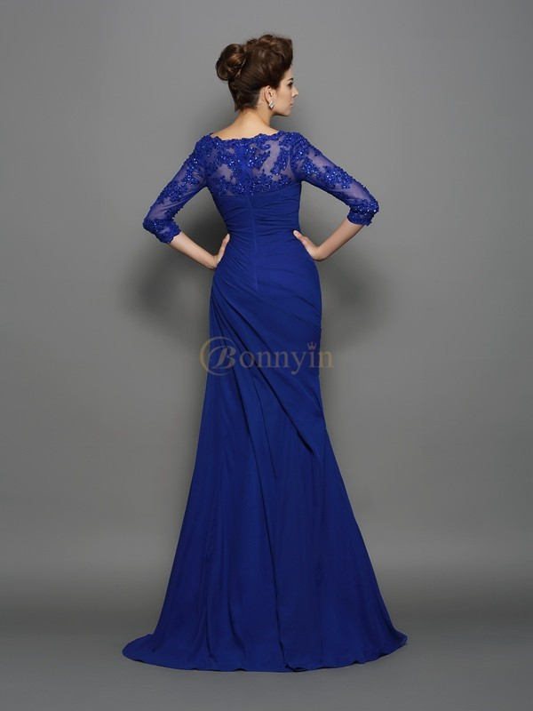 Royal Blue Chiffon Sweetheart Trumpet/Mermaid Sweep/Brush Train Mother of the Bride Dresses