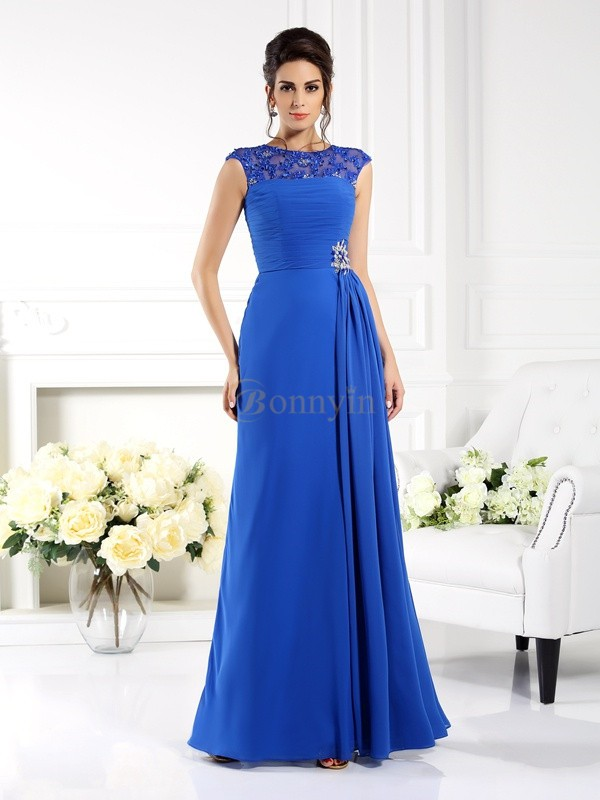 Royal Blue Chiffon Bateau A-Line/Princess Floor-Length Dresses