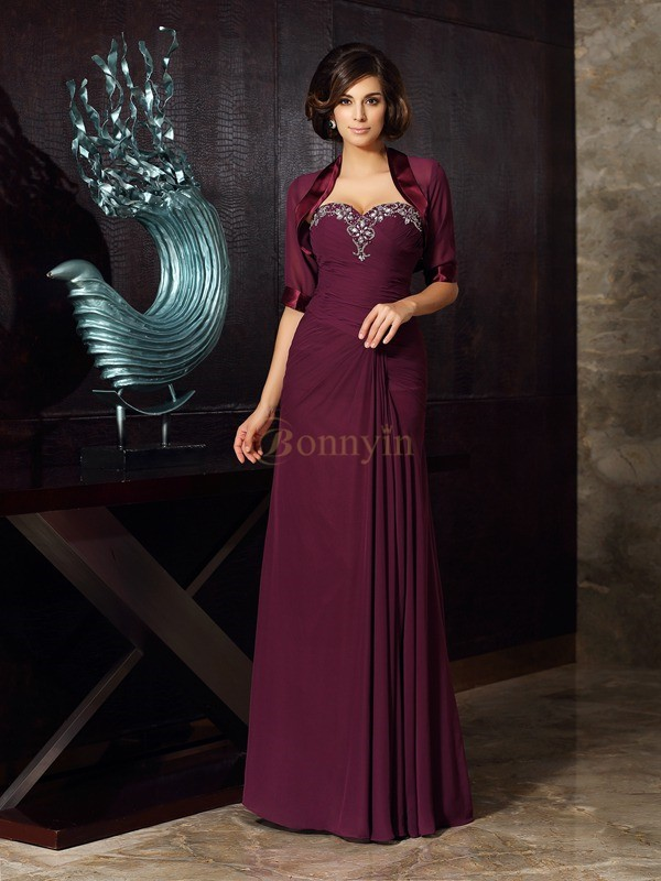 Grape Chiffon Sweetheart Sheath/Column Floor-Length Mother of the Bride Dresses