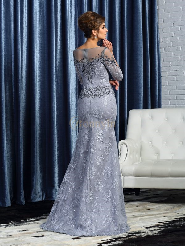 Grey Lace Bateau Trumpet/Mermaid Sweep/Brush Train Mother of the Bride Dresses