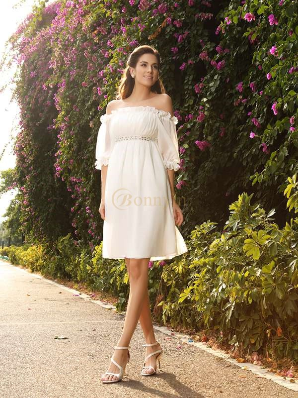 Ivory Chiffon Off-the-Shoulder A-Line/Princess Knee-Length Wedding Dresses