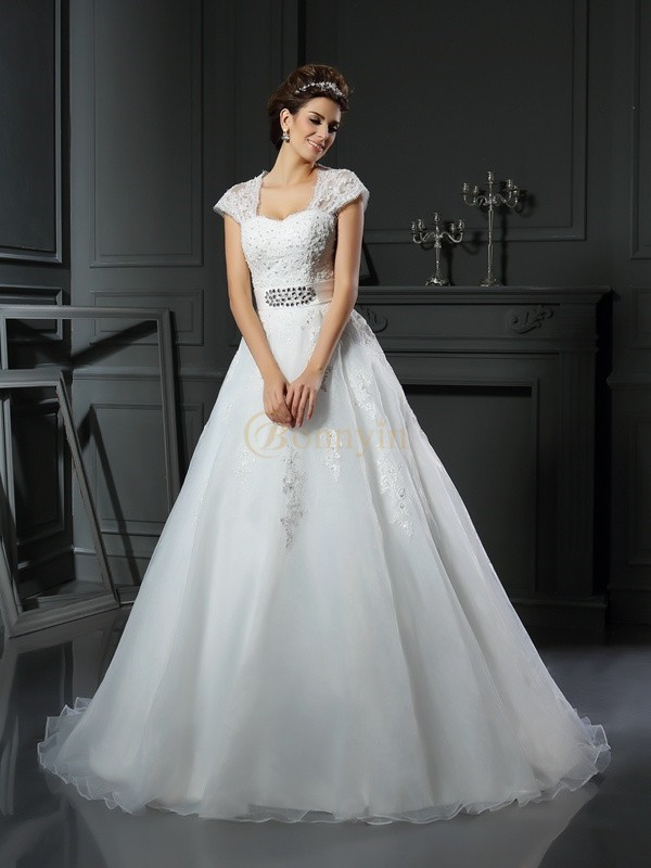 White Organza Square Ball Gown Chapel Train Wedding Dresses