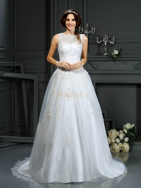 Ivory Net Scoop A-Line/Princess Court Train Wedding Dresses