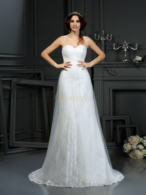 Ivory Net Sweetheart A-Line/Princess Court Train Wedding Dresses