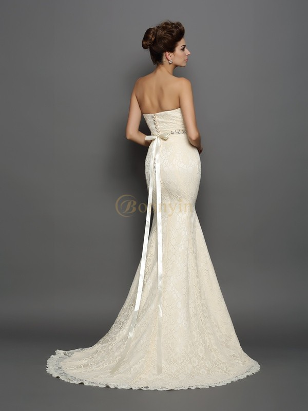Champagne Satin Sweetheart Trumpet/Mermaid Chapel Train Wedding Dresses