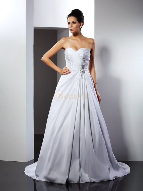 White Taffeta Sweetheart A-Line/Princess Court Train Wedding Dresses