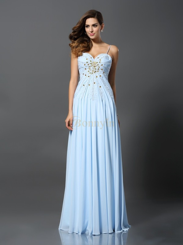 Light Sky Blue Chiffon Spaghetti Straps A-Line/Princess Sweep/Brush Train Prom Dresses