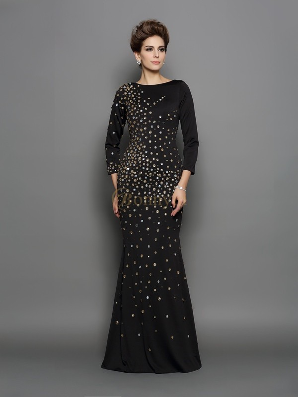 Black Spandex Scoop Trumpet/Mermaid Floor-Length Dresses