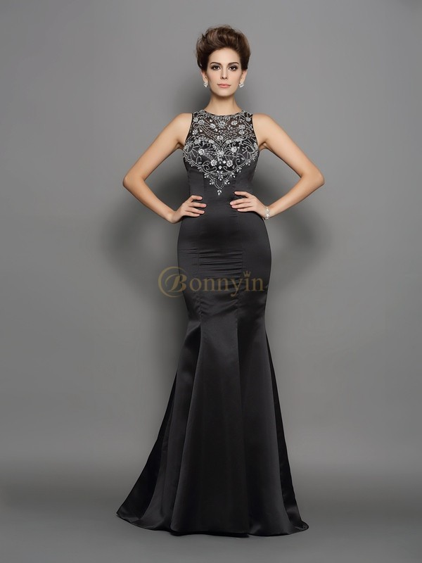 Black Satin Scoop Trumpet/Mermaid Sweep/Brush Train Prom Dresses