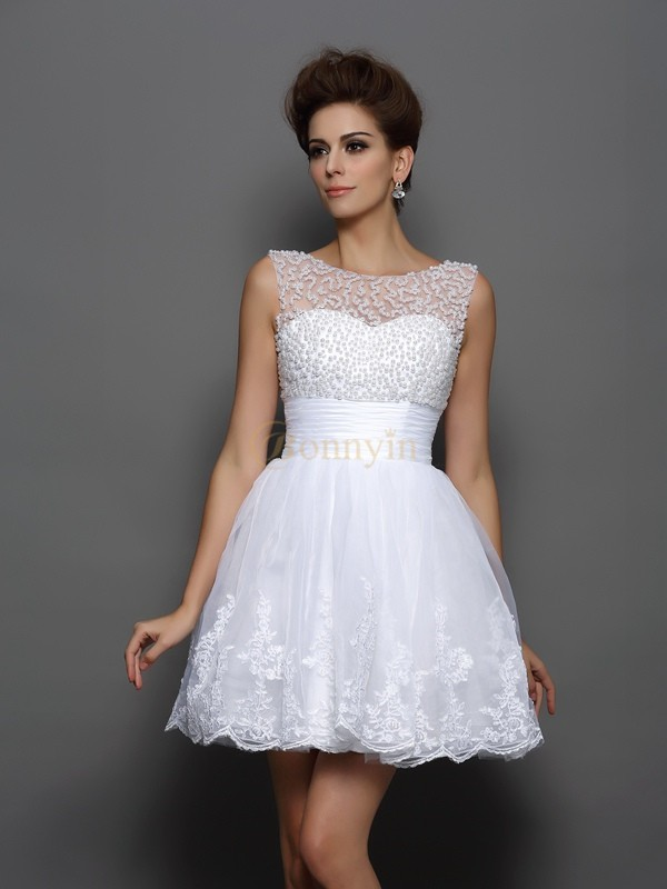 White Elastic Woven Satin Bateau A-Line/Princess Short/Mini Dresses