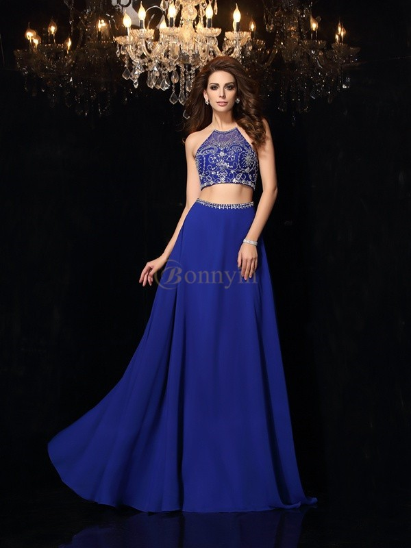 Royal Blue Chiffon High Neck A-Line/Princess Sweep/Brush Train Prom Dresses