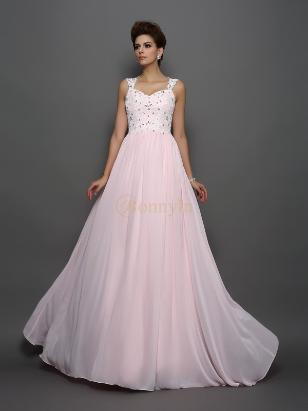 Pearl Pink Chiffon Straps A-Line/Princess Sweep/Brush Train Dresses