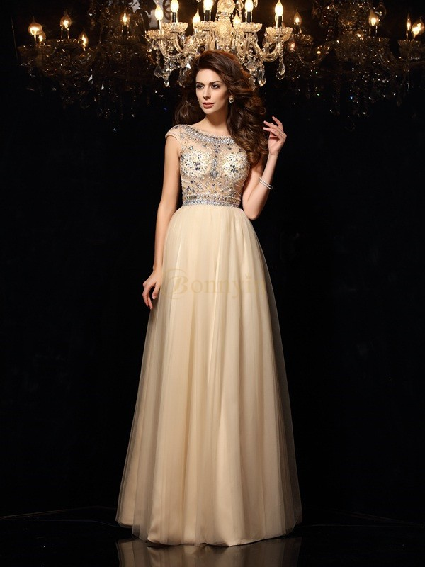 Champagne Net Scoop A-Line/Princess Floor-Length Dresses
