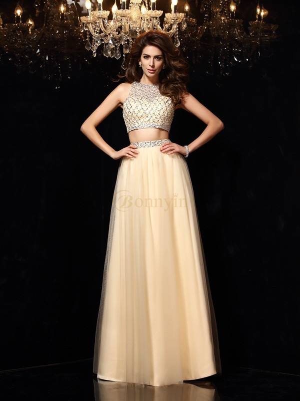 Champagne Net High Neck A-Line/Princess Floor-Length Dresses