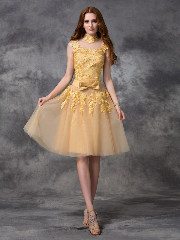 Gold Lace High Neck A-line/Princess Short/Mini Cocktail Dresses