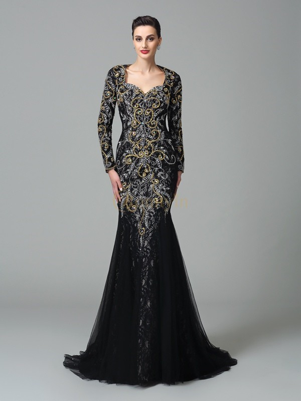 Black Net Sweetheart Trumpet/Mermaid Sweep/Brush Train Evening Dresses