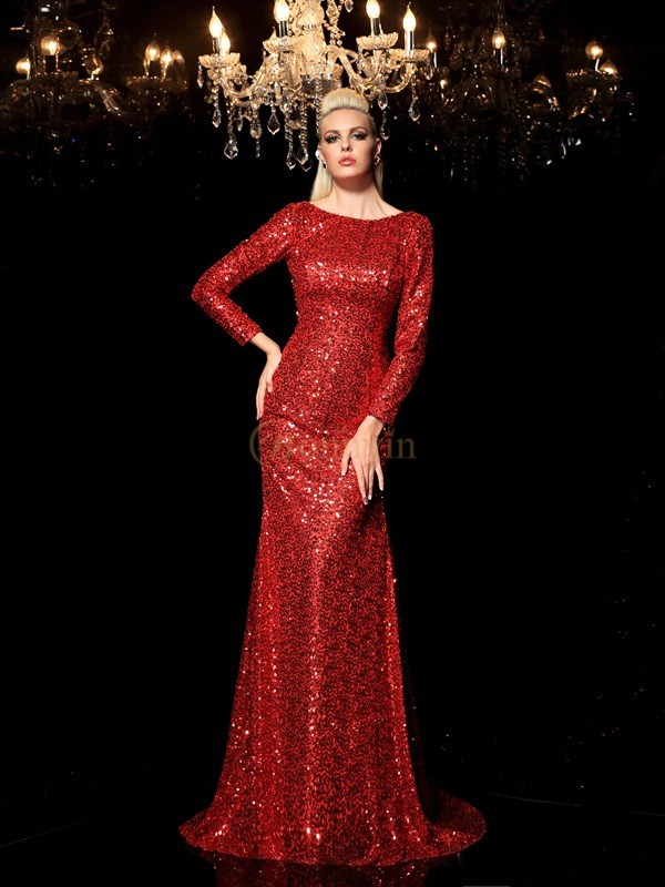 Red Sequins Scoop Sheath/Column Sweep/Brush Train Evening Dresses