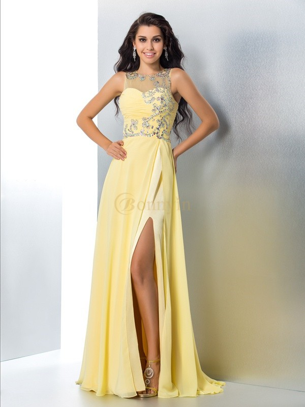 Yellow Chiffon Sheer Neck A-Line/Princess Sweep/Brush Train Prom Dresses