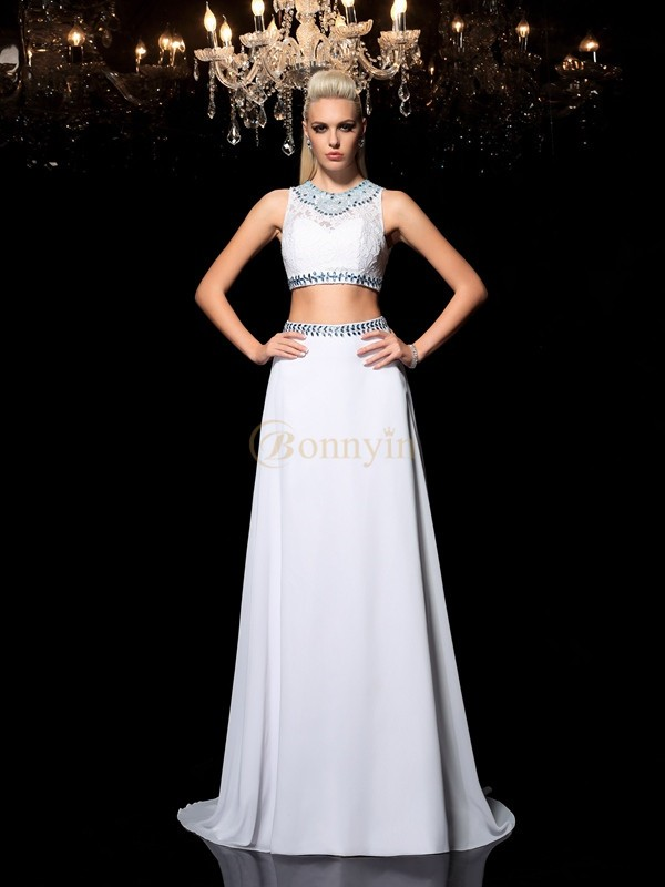 White Chiffon Jewel A-Line/Princess Floor-Length Prom Dresses
