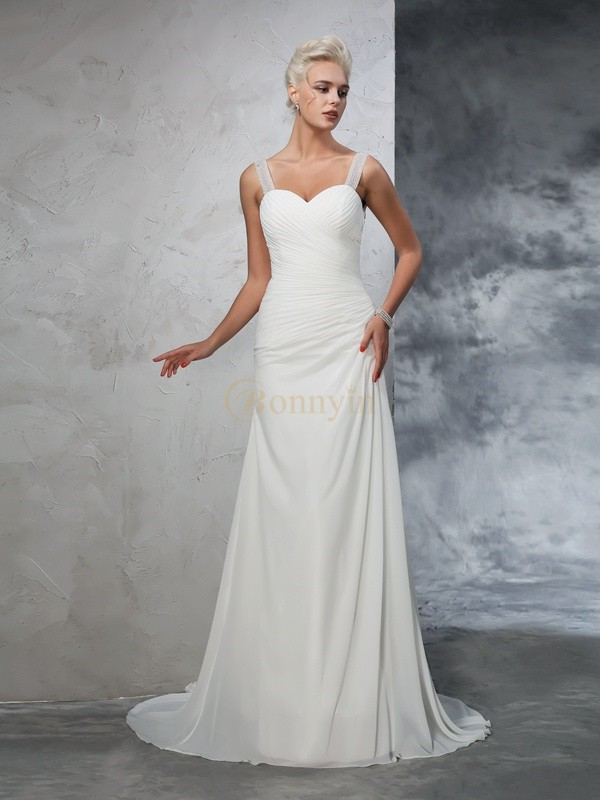 Ivory Chiffon Straps Trumpet/Mermaid Court Train Wedding Dresses