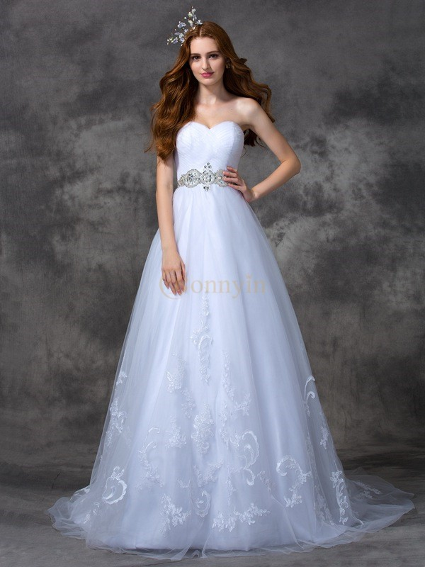 White Satin Sweetheart A-line/Princess Sweep/Brush Train Wedding Dresses