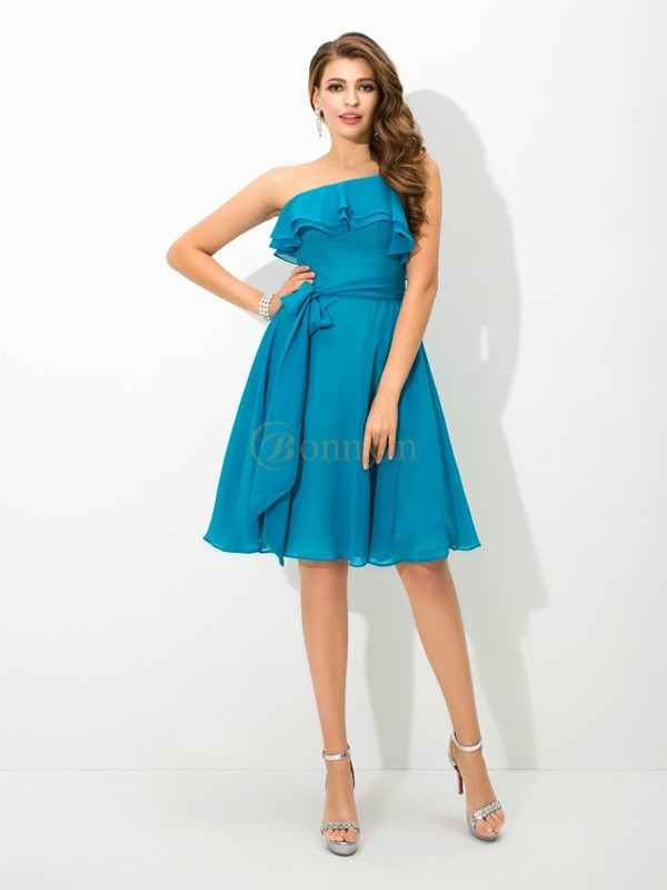 Blue Silk like Satin One-Shoulder A-Line/Princess Knee-Length Bridesmaid Dresses