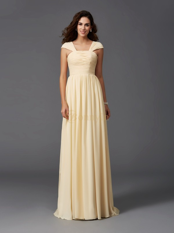 Daffodil Chiffon Straps A-Line/Princess Sweep/Brush Train Bridesmaid Dresses