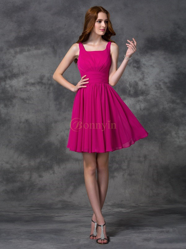Fuchsia Chiffon Square A-line/Princess Short/Mini Bridesmaid Dresses