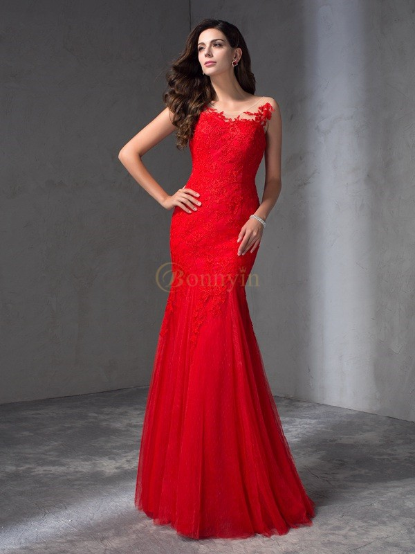 Red Lace Scoop Sheath/Column Floor-Length Prom Dresses