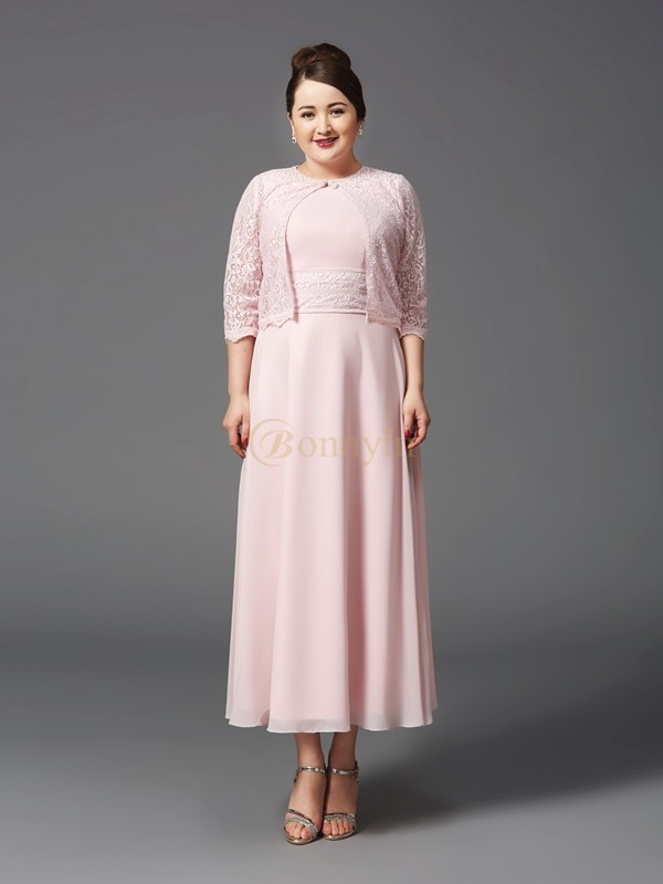 Pearl Pink Chiffon Jewel A-Line/Princess Ankle-Length Mother of the Bride Dresses