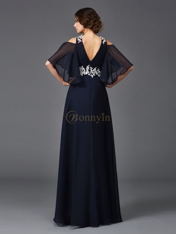 Dark Navy Chiffon Straps A-Line/Princess Floor-Length Mother of the Bride Dresses