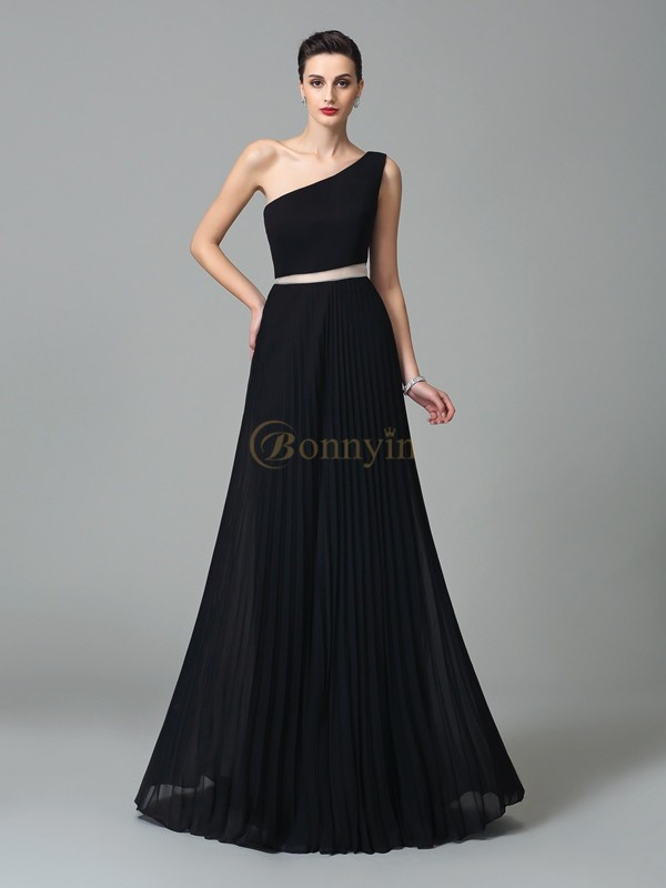 Black Chiffon One-Shoulder A-Line/Princess Floor-Length Prom Dresses