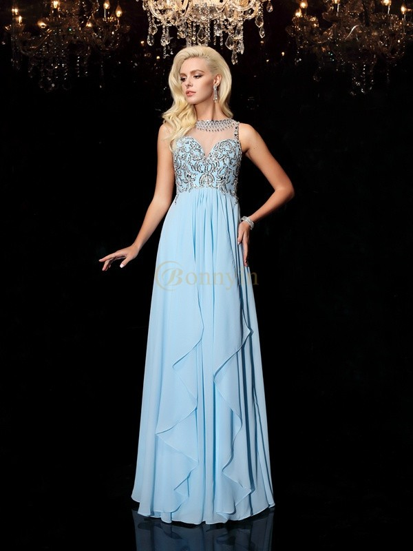 Light Sky Blue Chiffon Scoop A-line/Princess Floor-Length Prom Dresses