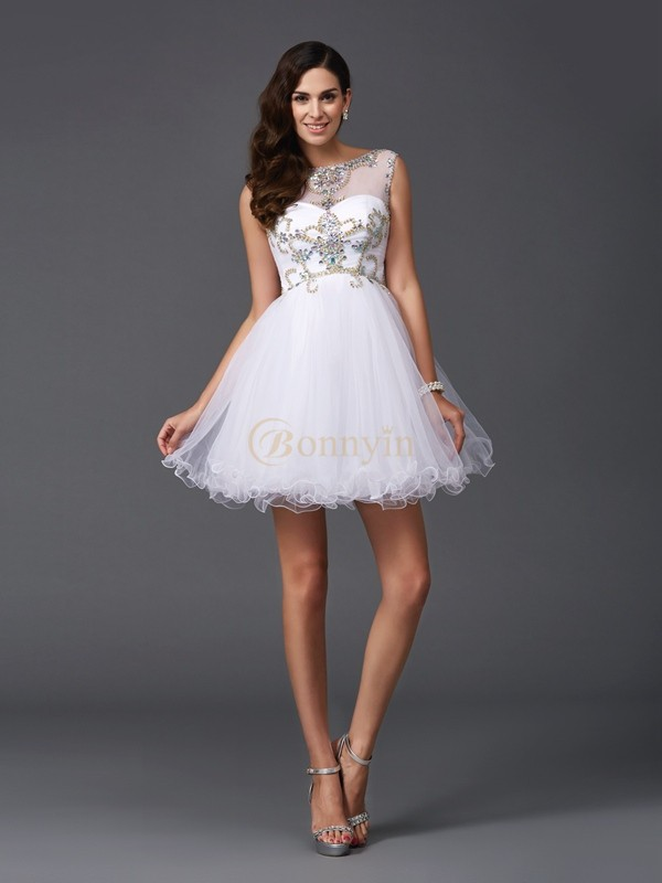 White Net Scoop A-Line/Princess Short/Mini Prom Dresses