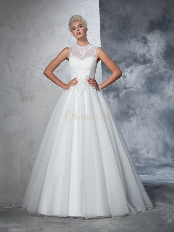 Ivory Net High Neck Ball Gown Floor-Length Wedding Dresses