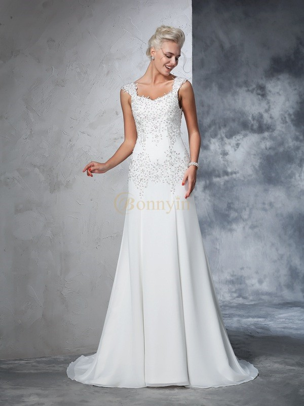 Ivory Chiffon Straps A-Line/Princess Court Train Wedding Dresses