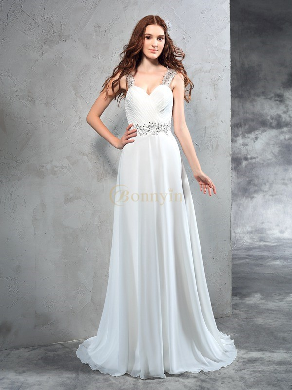 Ivory Chiffon Sweetheart A-Line/Princess Sweep/Brush Train Wedding Dresses