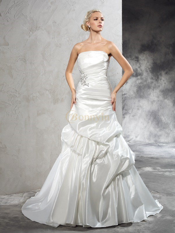 Ivory Satin Strapless Sheath/Column Court Train Wedding Dresses