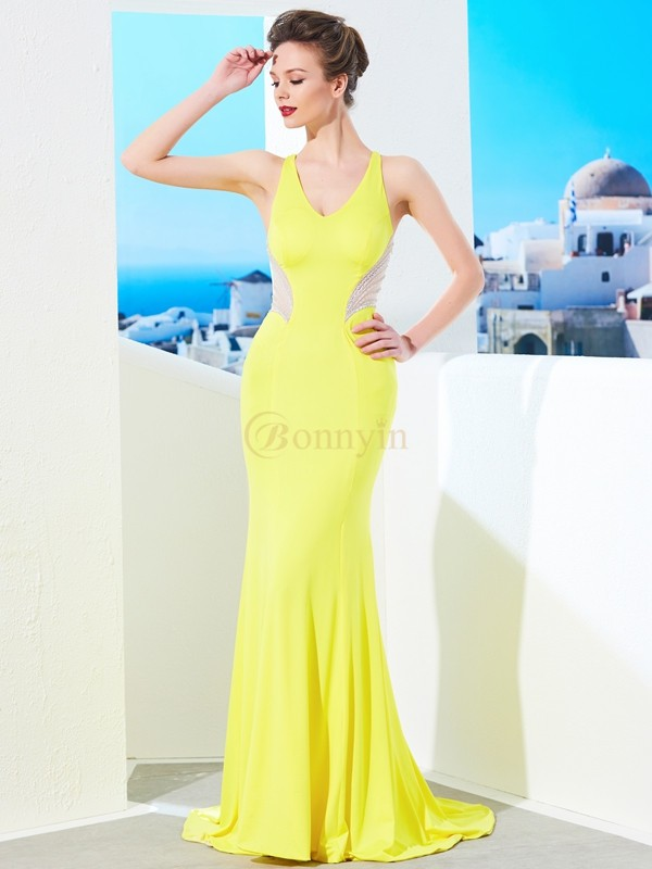 Yellow Spandex V-neck Trumpet/Mermaid Sweep/Brush Train Dresses