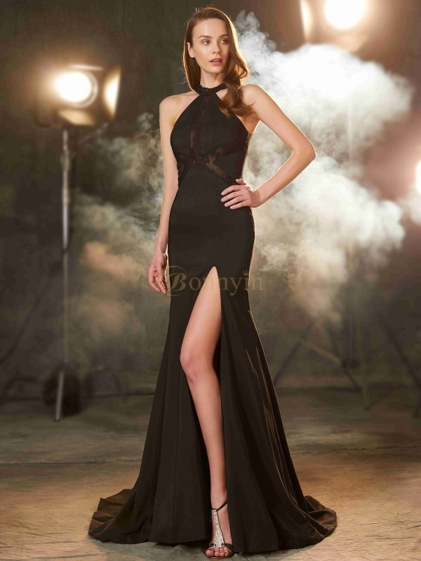 Black Elastic Woven Satin Jewel Sheath/Column Sweep/Brush Train Prom Dresses