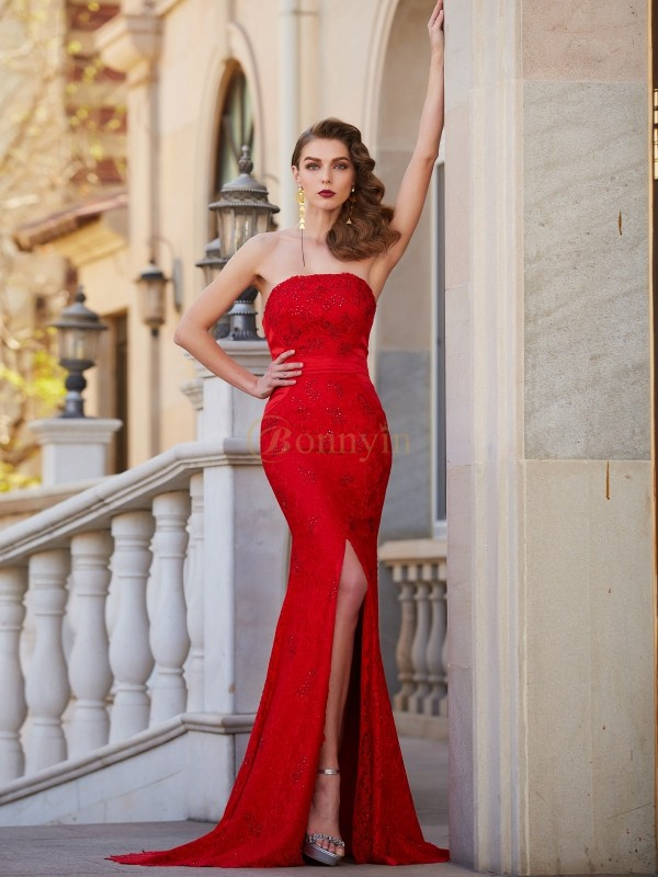 Red Satin Strapless Trumpet/Mermaid Sweep/Brush Train Dresses