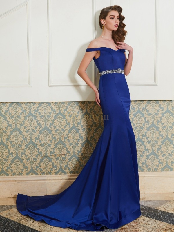 Royal Blue Satin Off-the-Shoulder Trumpet/Mermaid Sweep/Brush Train Prom Dresses