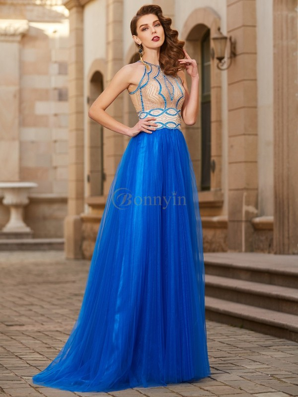 Royal Blue Tulle Jewel A-Line/Princess Floor-Length Prom Dresses