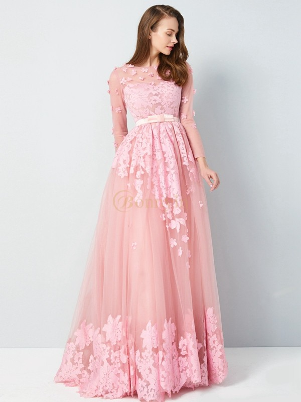 Pink Tulle Scoop A-Line/Princess Floor-Length Prom Dresses