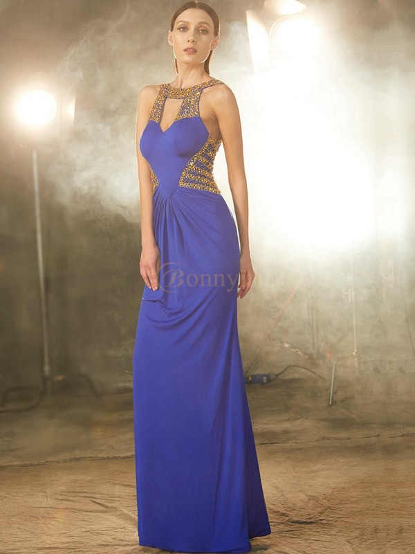 Royal Blue Spandex Scoop Sheath/Column Floor-Length Prom Dresses